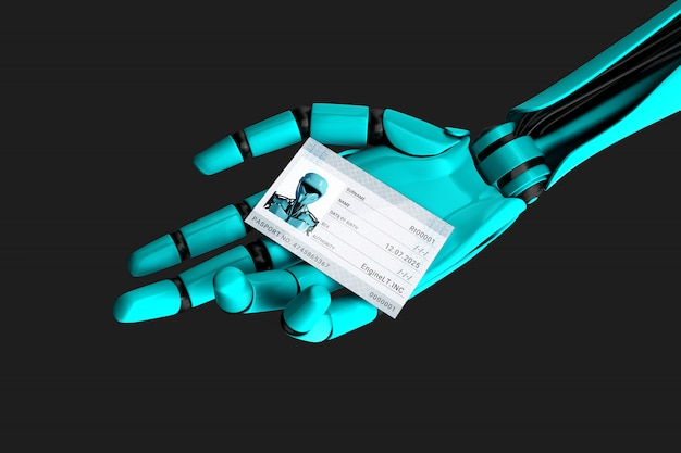 Robot hand holding a passport with his photo and identification number. 3d illustration