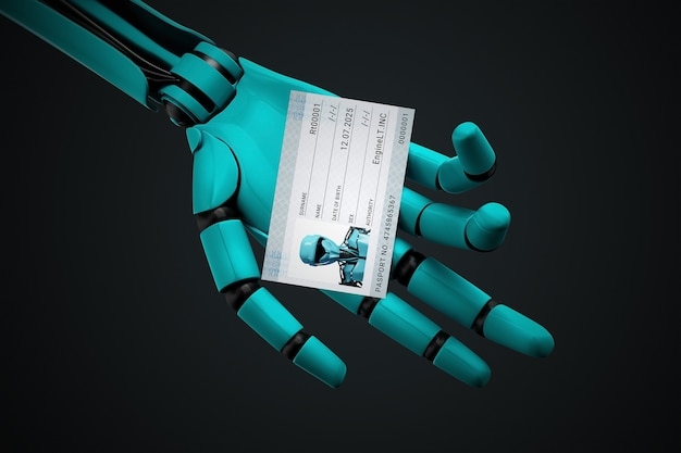 Robot hand holding a passport with his photo and identification number.