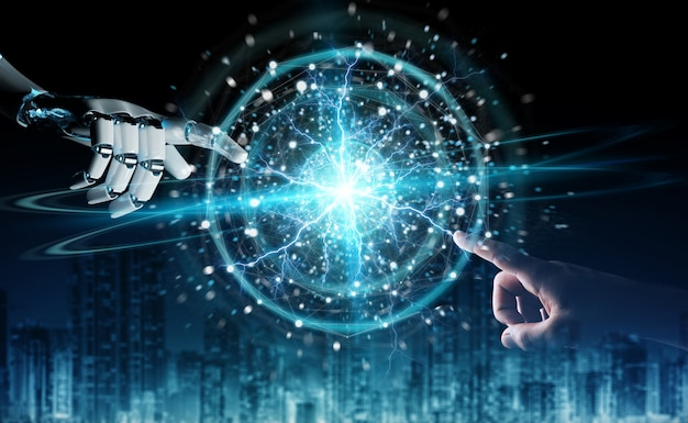 Robot hand and human hand touching digital sphere network on dark background