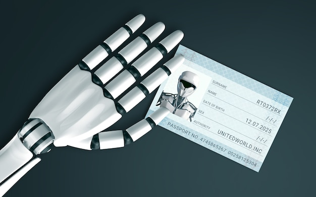 Robot hand on the table with a id passport