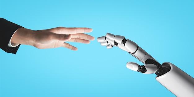 Рука робота, касающаяся человеческой руки