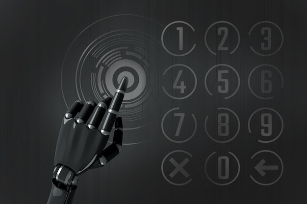 Robot hand typing on the numeric keypad