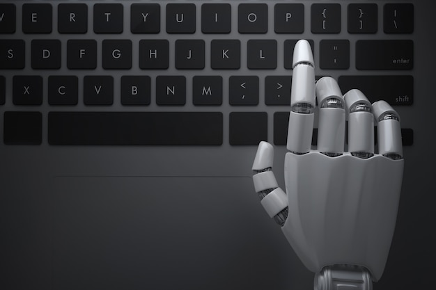 Robot hands hanging over the computer keyboard. 3d illustration
