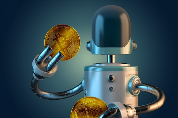 Robot hold bitcoin coins. 3d illustration. isolated. contains clipping path