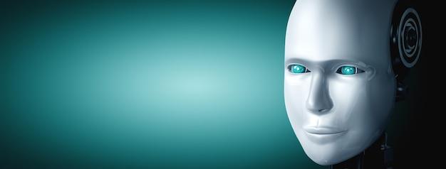 Гуманоидное лицо робота и глаза крупным планом, вид 3d-рендеринга