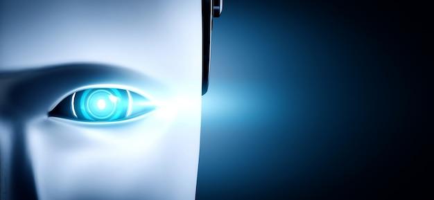 로봇 휴머노이드 얼굴과 눈 가까이보기 3d 렌더링