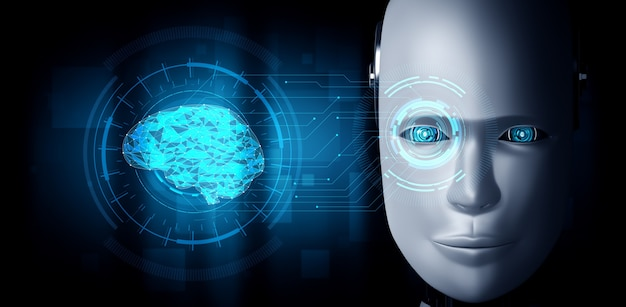 Robot humanoid face close up with graphic concept of ai thinking brain
