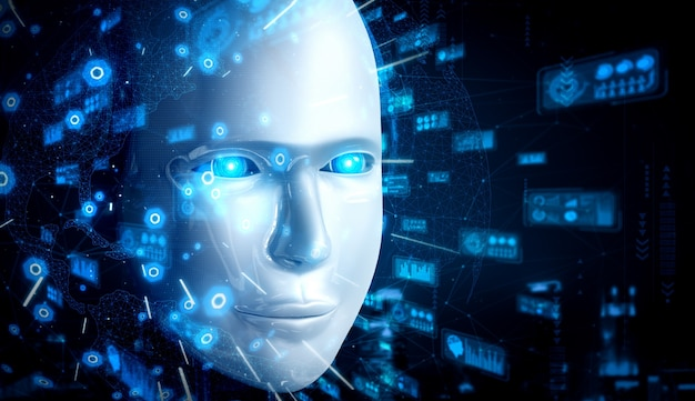 Robot humanoid face close up with graphic concept of big data analytic by ai thinking brain