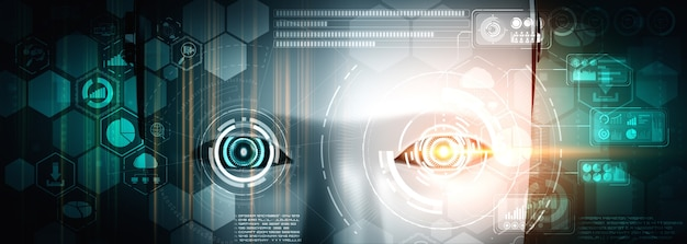 Robot humanoid face close up with graphic concept of big data analytic