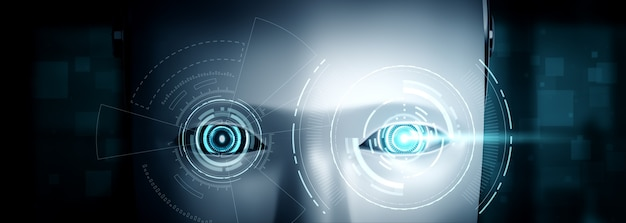 로봇 휴머노이드 얼굴은 ai 사고 두뇌의 그래픽 개념으로 닫습니다.