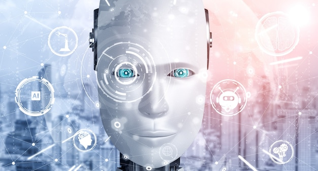 ロボットヒューマノイドの顔がai思考脳のグラフィックコンセプトでクローズアップ