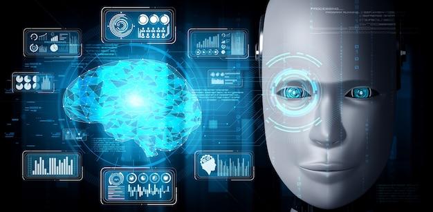 로봇 휴머노이드 얼굴은 빅 데이터 분석의 그래픽 개념으로 닫습니다.