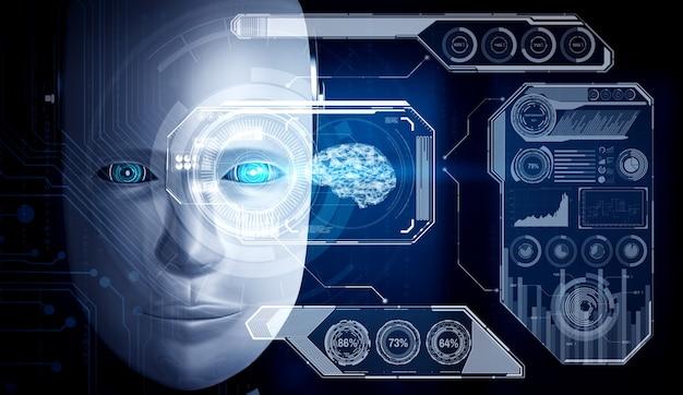 ロボットヒューマノイドの顔がビッグデータ分析のグラフィックコンセプトでクローズアップ