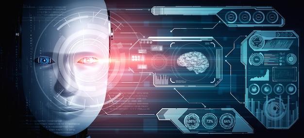 ロボットヒューマノイドの顔をビッグデータ分析のグラフィックコンセプトでクローズアップ