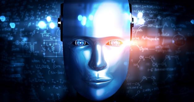 로봇 휴머노이드 얼굴은 공학 과학 연구의 그래픽 개념으로 닫습니다.