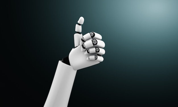 Robot humanoid hands up to celebrate goals success achieved by using ai