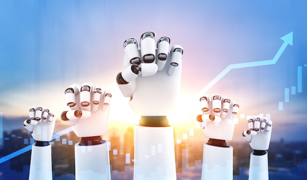 Robot humanoid hands up to celebrate money investment success achieved