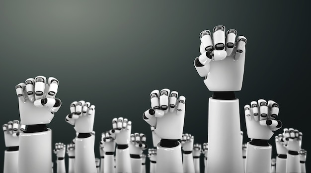 Robot humanoid hands up to celebrate success achieved by using ai