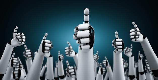 Робот-гуманоид поднимает руки, чтобы отметить успехи, достигнутые с помощью ии