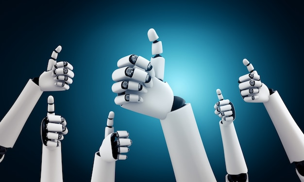 Робот-гуманоид поднимает руки, чтобы отпраздновать успех достигнутых целей