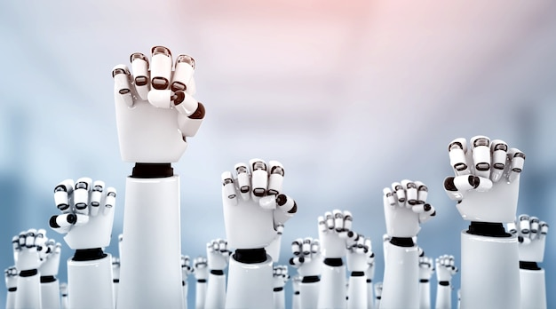 Aiを使用して達成された成功を祝うためにロボットヒューマノイドが手を差し伸べる