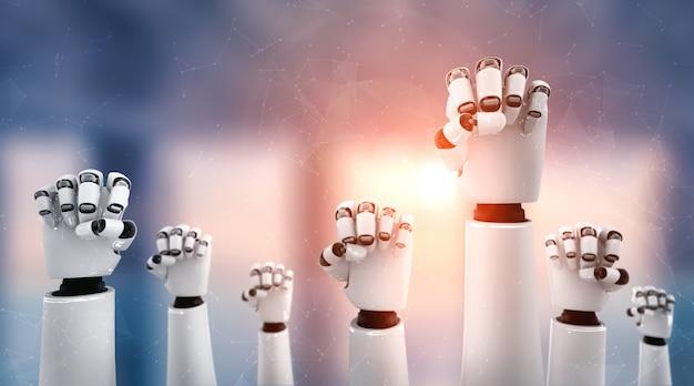 Робот-гуманоид поднимает руки, чтобы отпраздновать успех, достигнутый с помощью ии