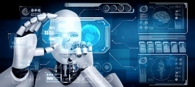 Robot humanoid hold hud hologram screen in concept of ai thinking brain
