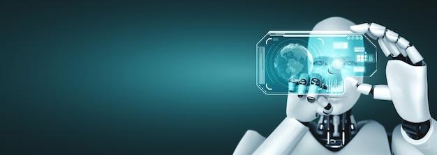 ロボットヒューマノイドは、ai思考脳の概念でhudホログラム画面を保持します