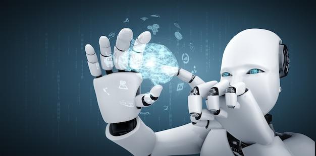 로봇 휴머노이드는 ai 사고 뇌의 개념에서 hud 홀로그램 화면을 개최합니다.