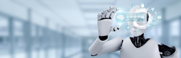 Робот-гуманоид держит экран голограммы hud в концепции искусственного интеллекта