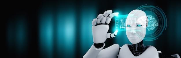 ロボットヒューマノイドはai思考脳の概念でhudホログラム画面を保持します