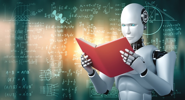 Robot humanoid reading book