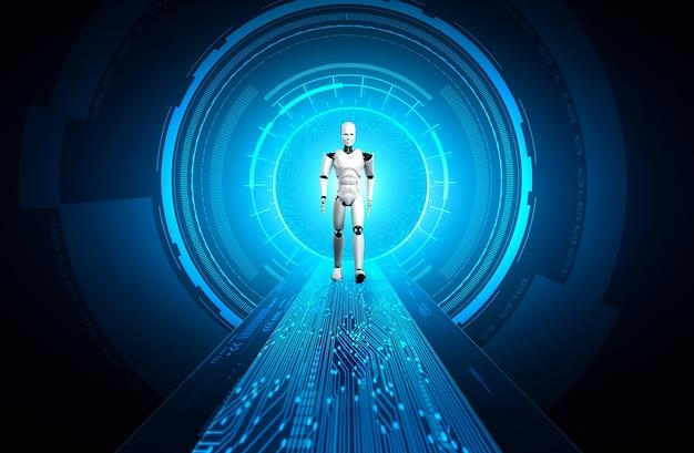 Robot humanoid in sci fi fantasy world