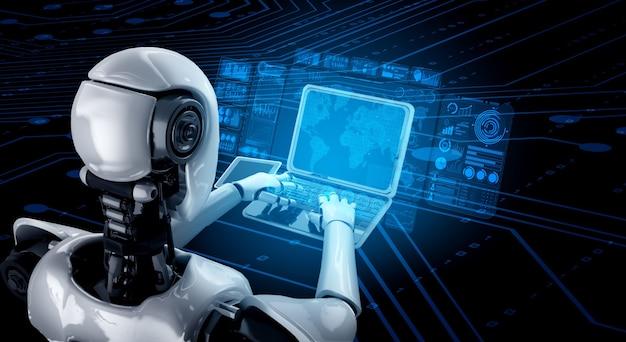 Робот-гуманоид использует ноутбук и сидит за столом для анализа больших данных с использованием интеллектуального мозга ии