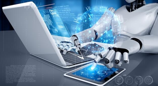 ロボットヒューマノイドはラップトップを使用し、ビッグデータ分析のためにテーブルに座ります