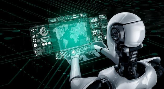 Робот-гуманоид использует ноутбук и сидит за столом для анализа больших данных