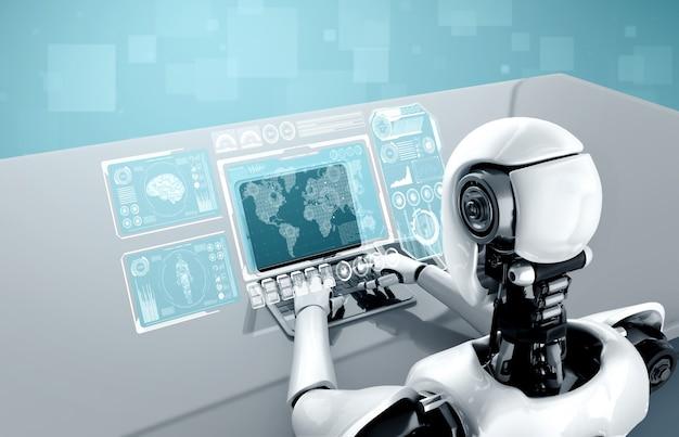 로봇 휴머노이드는 노트북을 사용하고 빅 데이터 분석을 위해 테이블에 앉아