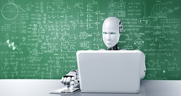 로봇 휴머노이드는 노트북을 사용하고 공학 과학 공부를 위해 테이블에 앉아