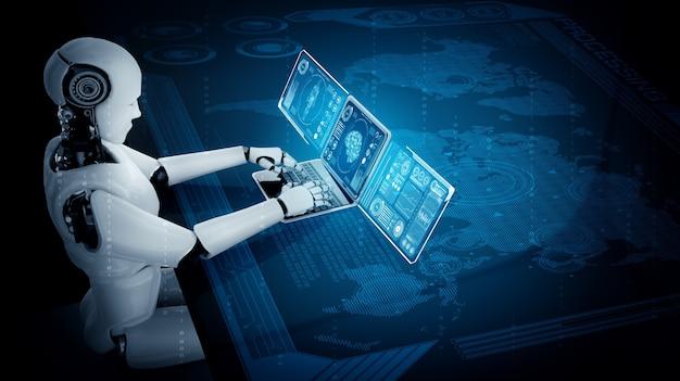 Робот-гуманоид использует ноутбук и сидит за столом для подключения к глобальной сети