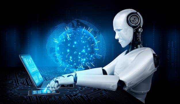 로봇 휴머노이드는 노트북을 사용하고 글로벌 네트워크 연결을 위해 테이블에 앉습니다.