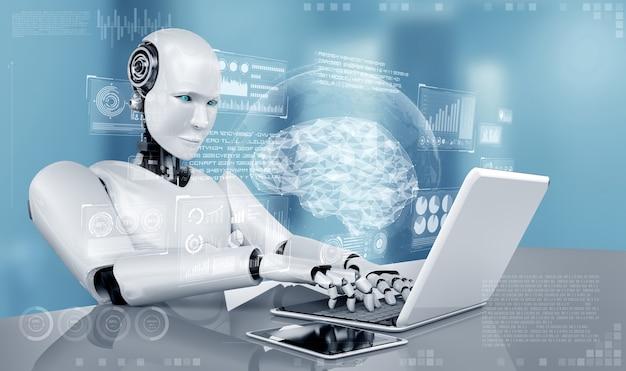 Робот-гуманоид использует ноутбук и сидит за столом в концепции мыслящего мозга ии
