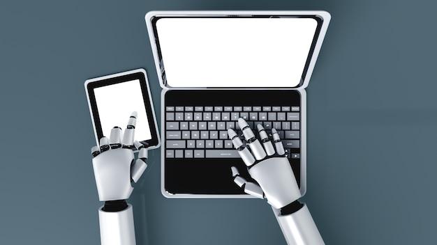 Робот-гуманоид использует ноутбук и сидит за столом в будущем офисе, используя интеллектуальный мозг искусственного интеллекта