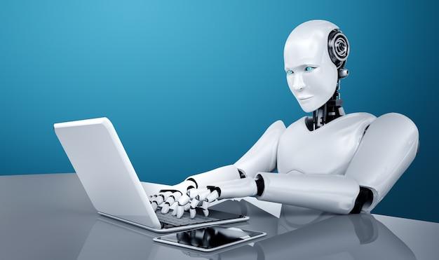 Робот-гуманоид использует ноутбук и сидит за столом