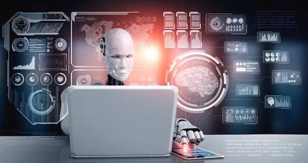 Robot humanoid use laptop and sit at table for big data analytic using ai thinking brain