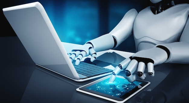Robot humanoid use laptop and sit at table in future office