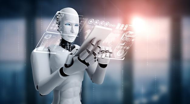 Робот-гуманоид использует мобильный телефон или планшет для анализа больших данных с помощью искусственного интеллекта