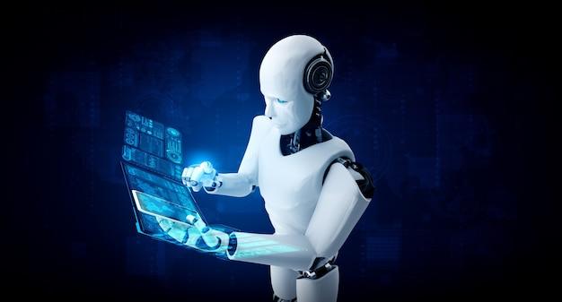 로봇 휴머노이드는 빅 데이터 분석을 위해 휴대 전화 또는 태블릿을 사용합니다.