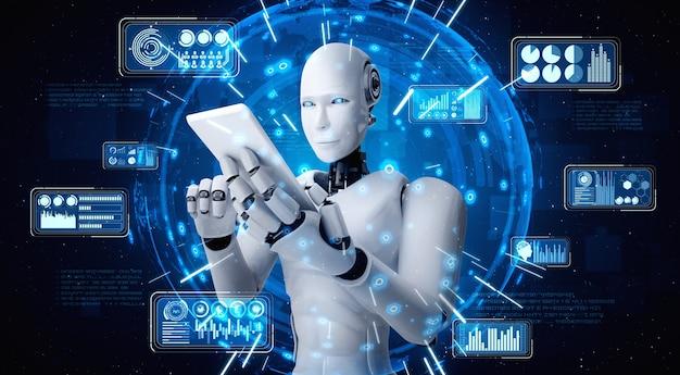 Робот-гуманоид использует мобильный телефон или планшет для анализа больших данных
