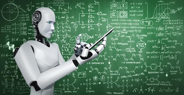 Робот-гуманоид использует мобильный телефон или планшет для изучения инженерных наук