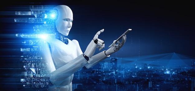 ロボットヒューマノイドは、グローバルネットワーク接続に携帯電話またはタブレットを使用します